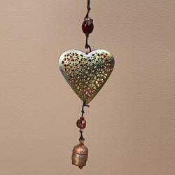 Handmade Iron and Glass Hearts Hanging Art (India)
