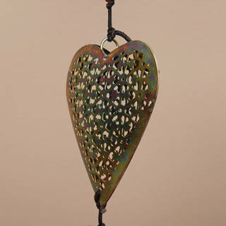 Handmade Iron and Glass Hearts Hanging Art (India)