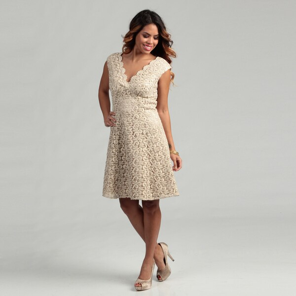Marina Women's Gold Lace V-neck Dress