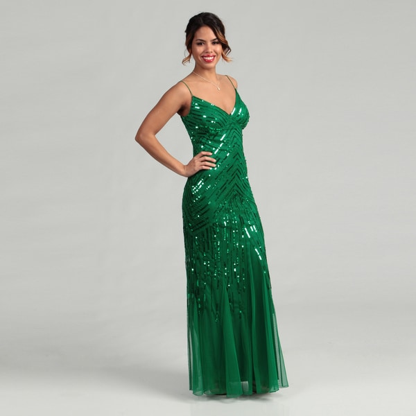Shop Marina Women\'s Green Sequin-embellished Gown - Free Shipping ...