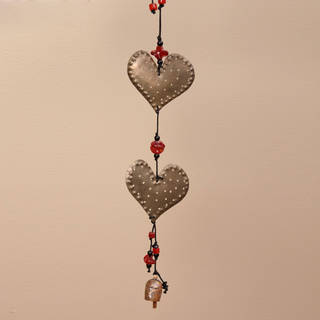Handmade Iron and Glass Double Dotted Hearts Hanging Art (India)
