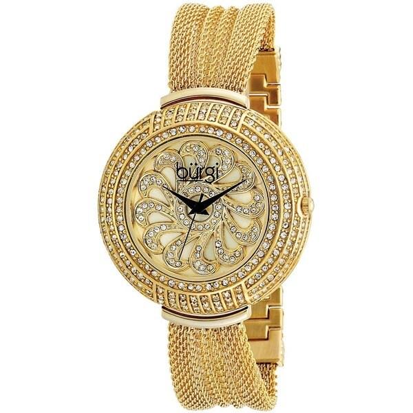 Burgi Women's Crystal Mesh Classic Gold-Tone Bracelet Quartz Watch