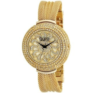 Burgi Women's Crystal Mesh Classic Gold-Tone Bracelet Quartz Watch