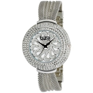 Burgi Women's Water-resistant Crystal Mesh-Silver-Tone Bracelet Quartz Watch with FREE GIFT