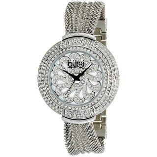 Burgi Women's Water-resistant Crystal Mesh-Silver-Tone Bracelet Quartz Watch