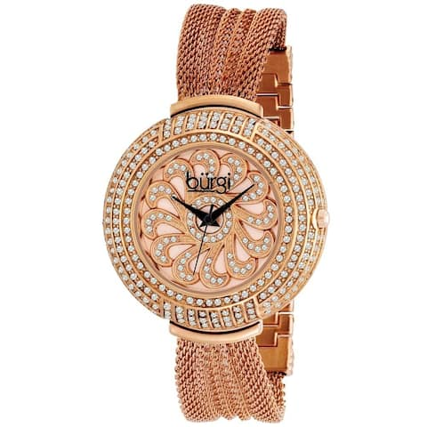 Burgi Women's Crystal Traditional Mesh Rose-Tone Bracelet Quartz Watch