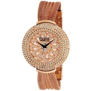 Burgi Women's Crystal Traditional Mesh Rose-Tone Bracelet Quartz Watch with FREE GIFT|https://ak1.ostkcdn.com/images/products/6477839/P14071778.jpg?impolicy=medium
