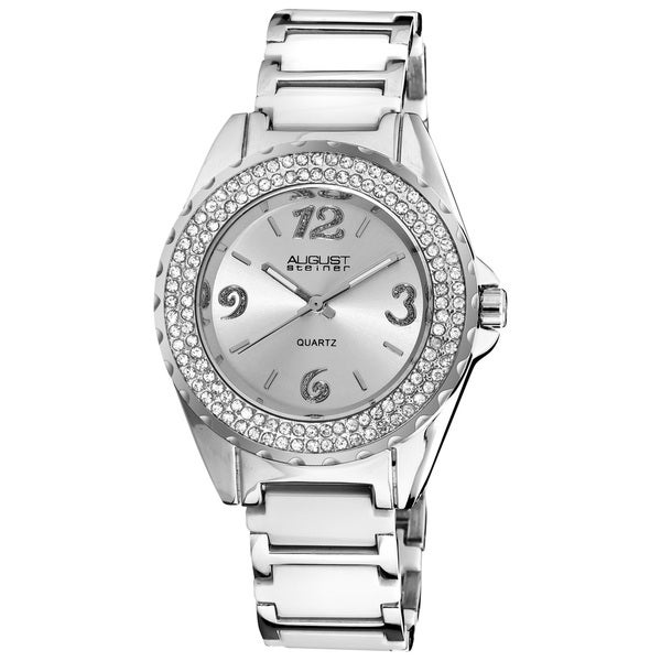 August Steiner Women's Quartz Crystal Ceramic Link-Style White Bracelet Watch with FREE Bangle
