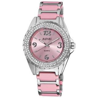 August Steiner Women's Quartz Crystal Ceramic Pink Bracelet Watch