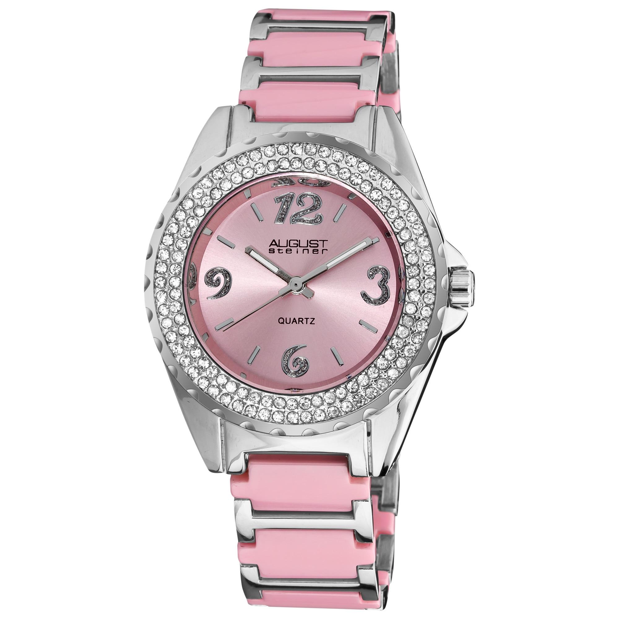 August Steiner Women's Quartz Crystal Ceramic Pink Bracel...