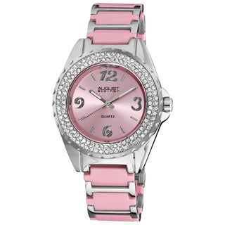 August Steiner Women's Quartz Crystal Ceramic Pink Bracelet Watch with FREE Bangle