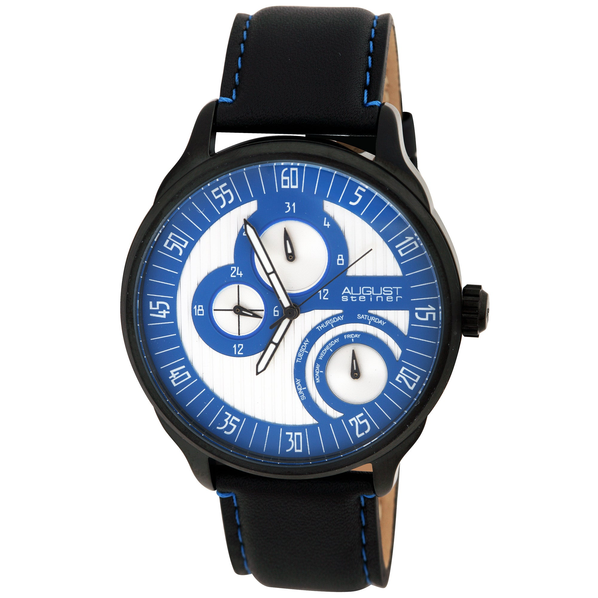 August Steiner Men's Stainless Steel Multifunction Leather Blue Watch