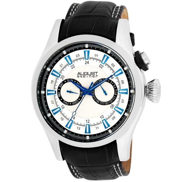 August Steiner Men's Stainless-Steel Swiss Quartz Day/Date GMT Watch