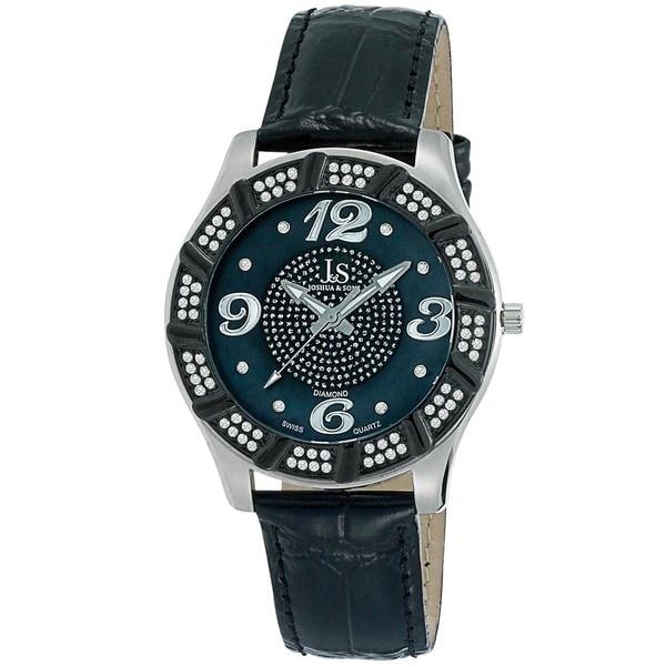 Joshua & Sons Men's Water-Resistant Swiss Quartz Diamond Silver-Tone Strap Watch. Opens flyout.