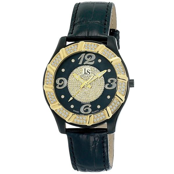 Joshua & Sons Men's Stainless Steel Swiss Quartz Diamond Strap Watch