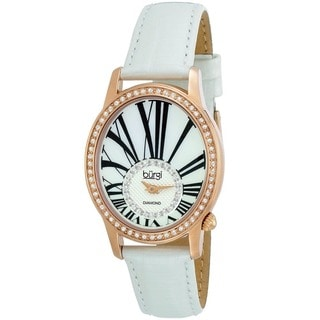 Burgi Women's Swiss Quartz Diamond Leather White Strap Watch