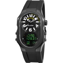 Philip Stein Men's 3BRB-AD-RB 'Signature' Dual Time Black Silicone Strap Watch