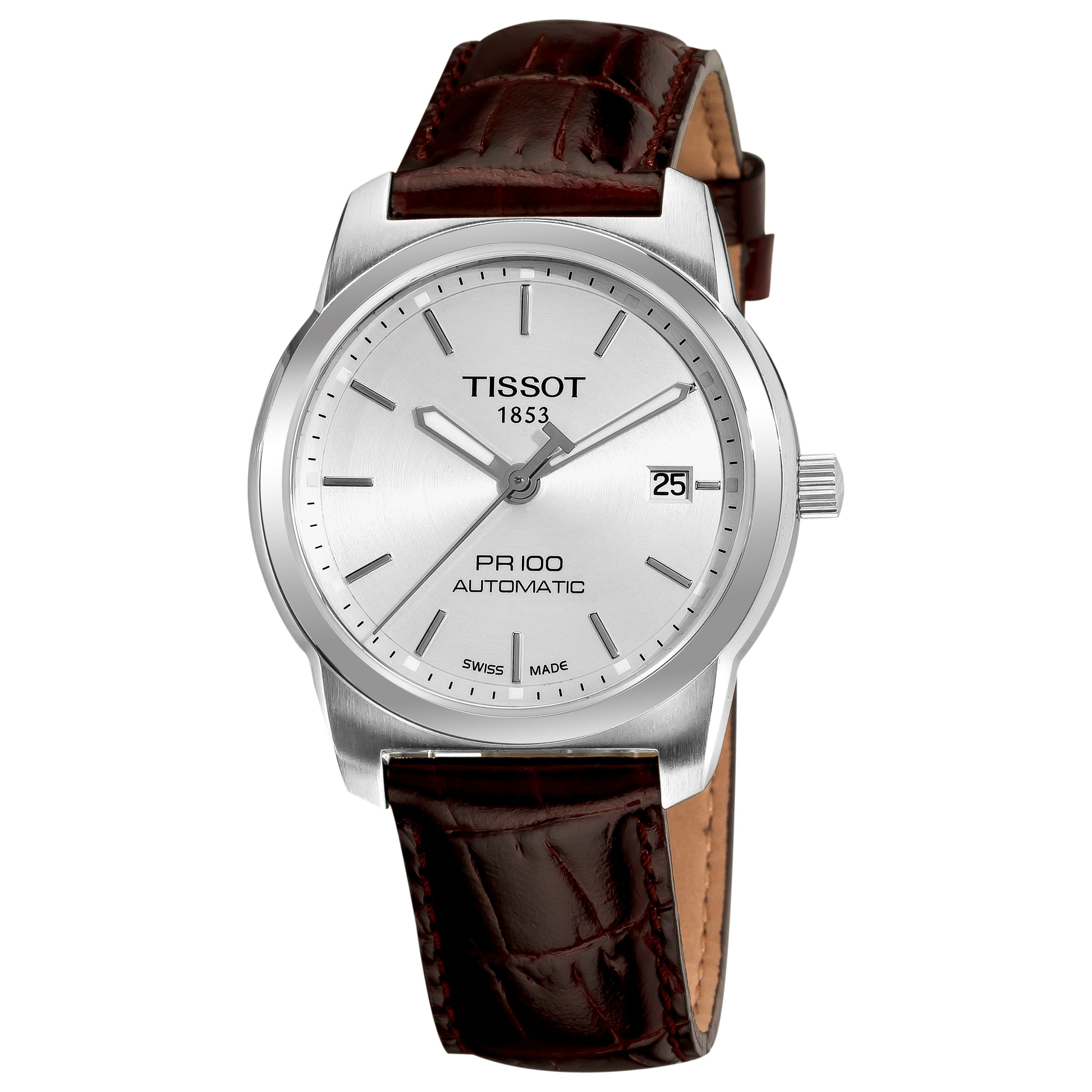 39f39a7749b Shop Tissot Men s  PR-100  Silver Dial Brown Leather Strap Automatic Watch  - Free Shipping Today - Overstock - 6478028