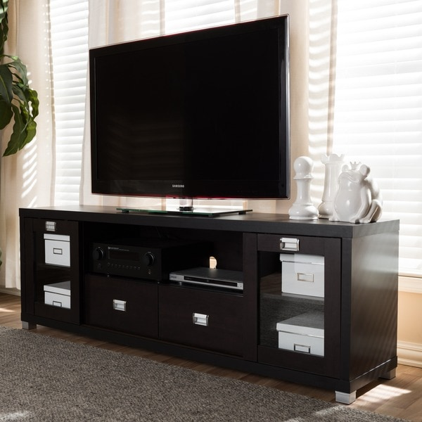 Baxton Studio Contemporary Dark Brown Silvertone Wood Gl Metal Tv Stand