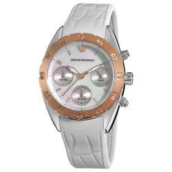 Emporio Armani Women's AR5938 'Sport' White Silicone Strap Watch