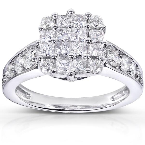 Annello by Kobelli 14k White Gold 1 1/10ct TDW Diamond Cluster Engagement Ring (H-I, I1-I