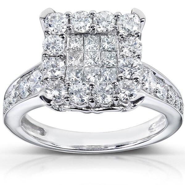 Annello by Kobelli 14k White Gold 1 1/3ct TDW Diamond Cluster Engagement Ring (H-I, I1-I2