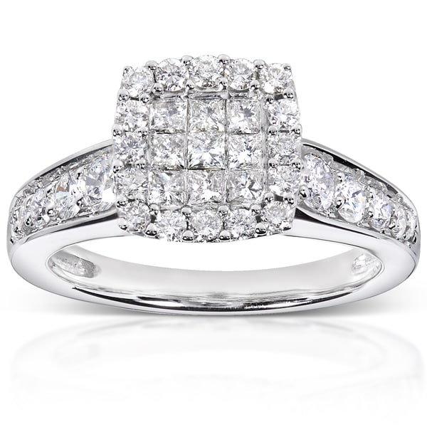 Annello by Kobelli 14k White Gold 7/8ct TDW Diamond Cluster Engagement Ring (H-I, I1-I2)