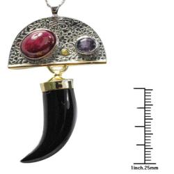 De Buman 18k Yellow Gold and Silver Black Agate and Ruby Necklace