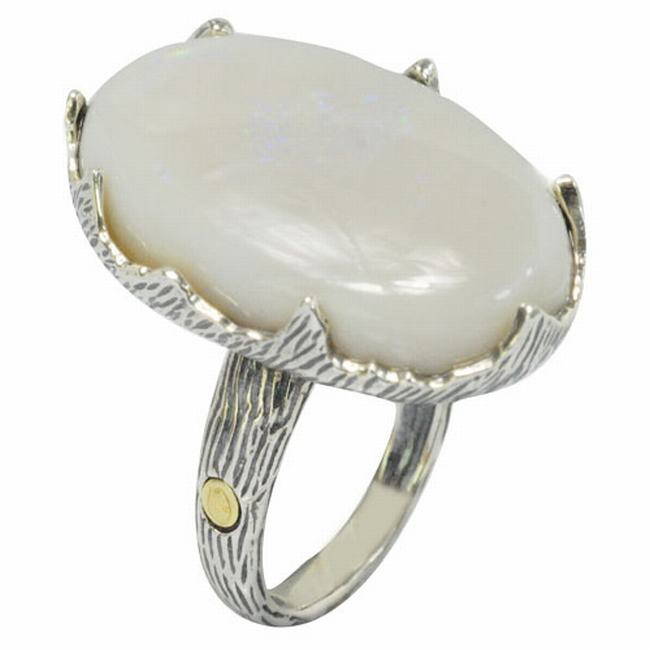 De Buman 18K Yellow Gold and Sterling Silver 18.8 mm wide x 30.6 mm long Oval Shaped Opal Ring