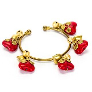 Goldtone Red Coral Heart Bracelet (Thailand)
