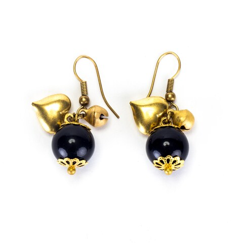 Handmade Goldtone Onyx Dangle Earrings (Thailand)
