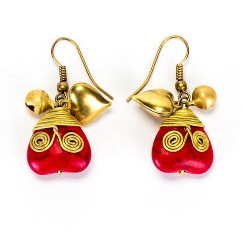 Handmade Brass Red Coral Heart Earrings (Thailand)
