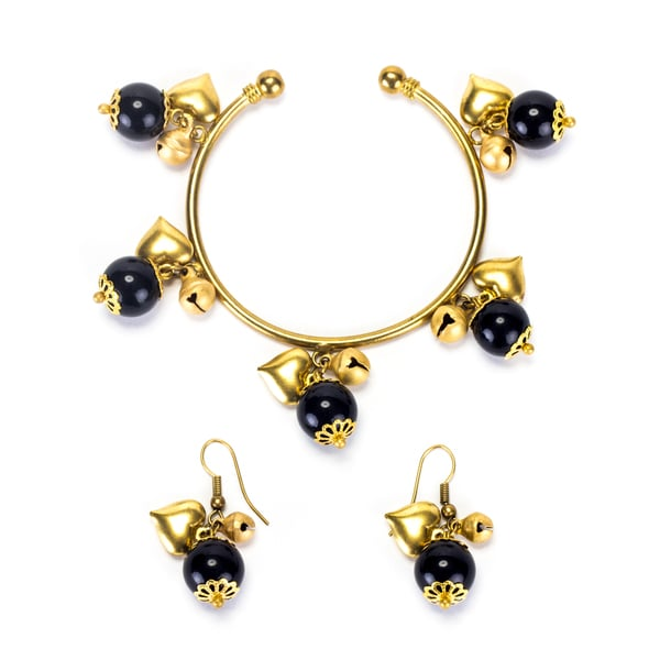 Goldtone Onyx Bracelet and Earrings Set (Thailand)