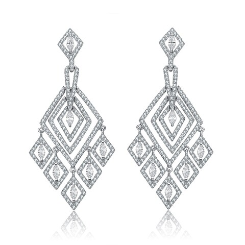 Collette Z Sterling Silver Clear Cubic Zirconia Chandelier Earrings