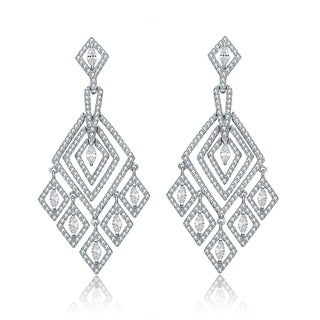 Collette Z Sterling Silver Clear Cubic Zirconia Chandelier Earrings