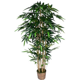 Laura Ashley 6-foot Realistic Silk Bamboo Tree with Wicker Basket Planter