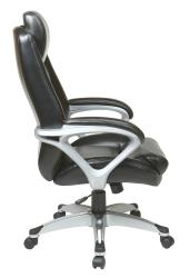 Office Star Products Executive Eco Leather Chair with Padded Arms - Thumbnail 2