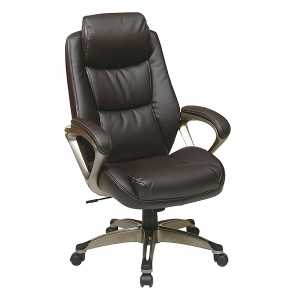 Office Star Executive Eco Leather Chair With Padded Arms And Headrest