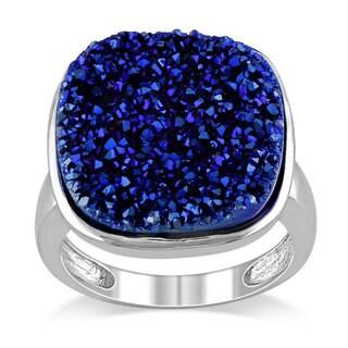 Miadora Sterling Silver Blue Druzy Gemstone Cocktail Ring