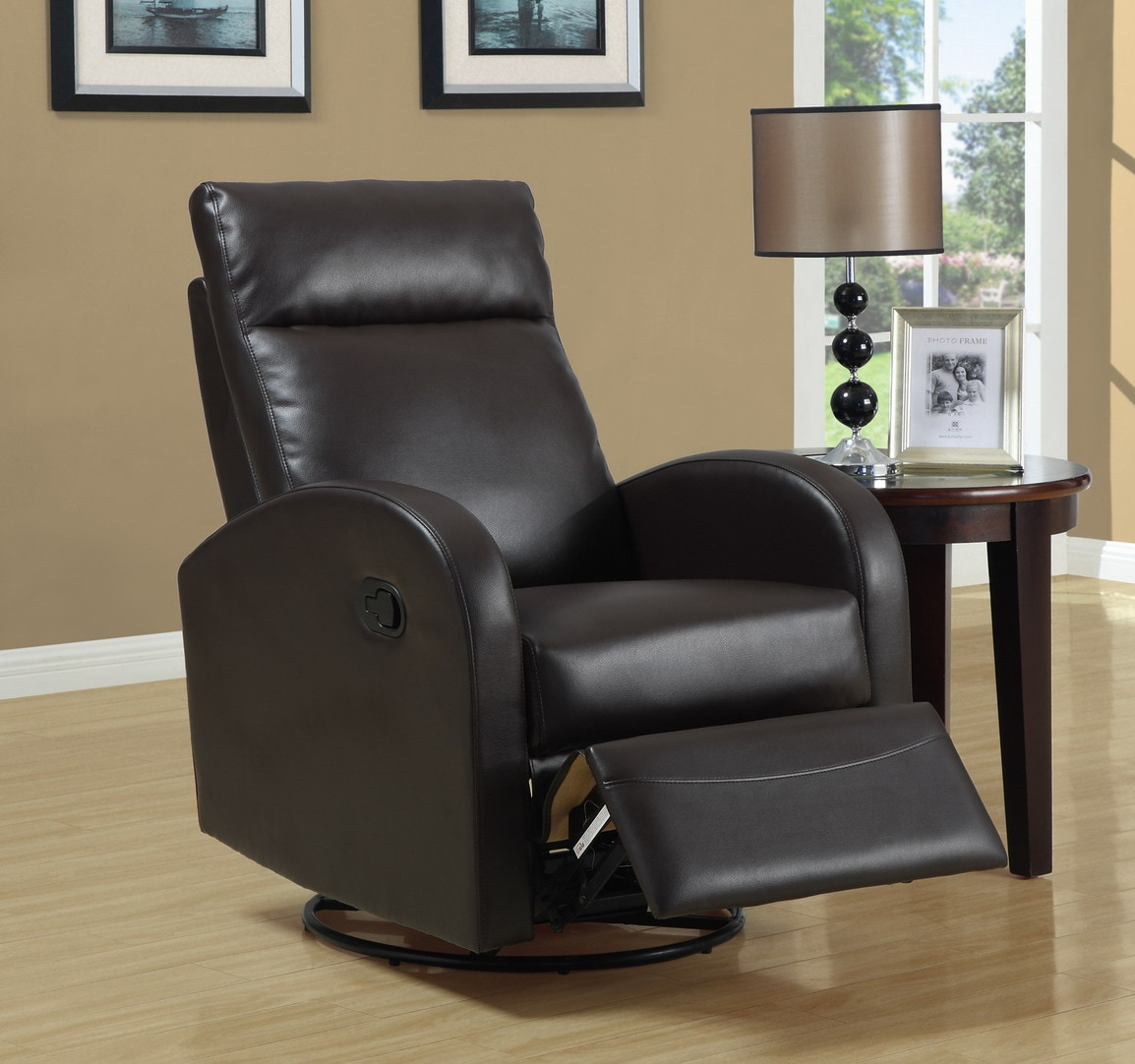 Brown Bonded Leather Recliner - Thumbnail 0