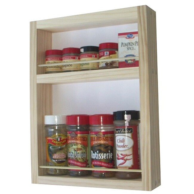 WG Wood Products Two-Shelf Solid Wood Surface Mounted Kitchen Spice Rack