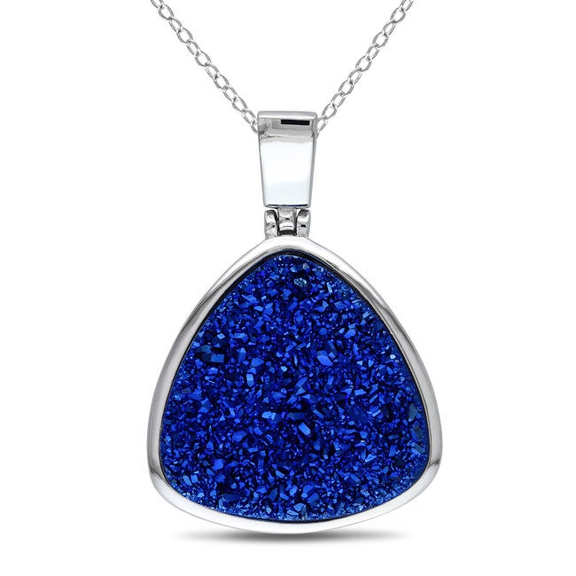 New! Sterling-silver Blue Pear Druzy Necklace with 18-inch Chain
