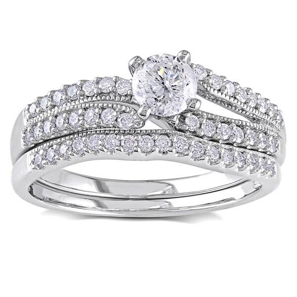 Miadora Signature Collection 14k White Gold 3/4ct TDW Diamond Bridal Ring Set
