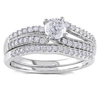 Miadora Signature Collection 14k White Gold 3/4ct TDW Diamond Bridal Ring Set