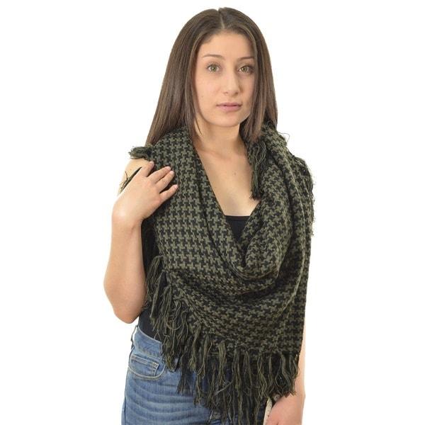 LA77 Black/ Green Square Knit Scarf