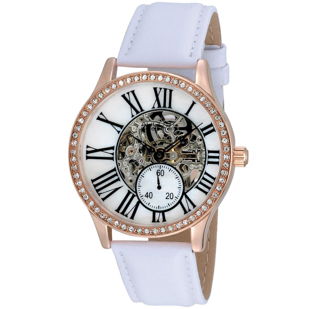 August Steiner Women's Crystal Skeleton Water-Resistant Automatic White Strap Watch