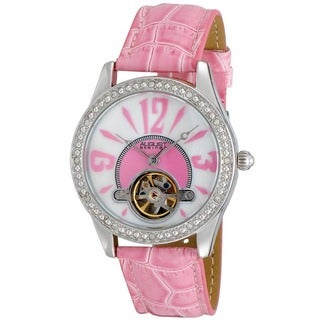 August Steiner Women's Crystal Skeleton Pink Strap Watch with FREE GIFT