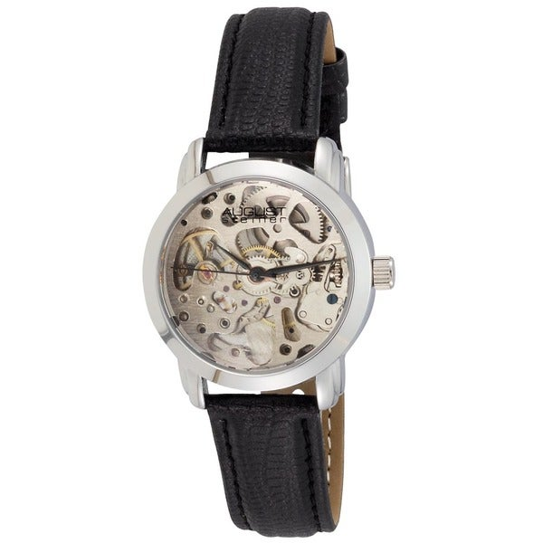 August Steiner Women's Skeleton Automatic Black Leather-Silver-Tone Strap Watch