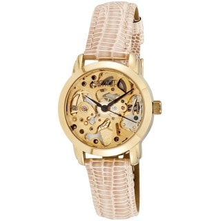 August Steiner Women's Skelton Automatic Beige Leather-Gold-Tone Strap Watch