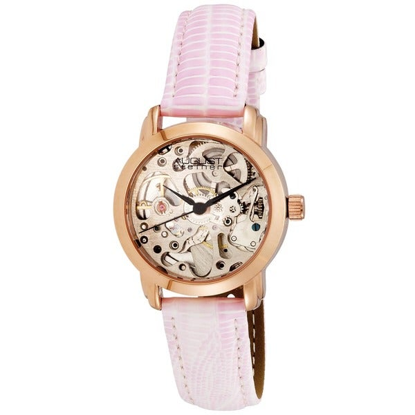August Steiner Women's Skeleton Automatic Rose-Tone Strap Watch